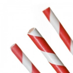 Pailles rétro rouges en carton