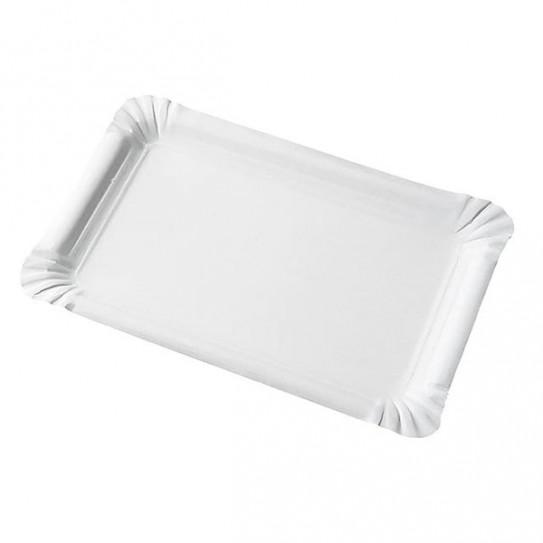 Assiette Carton Rectangle  blanche écologique