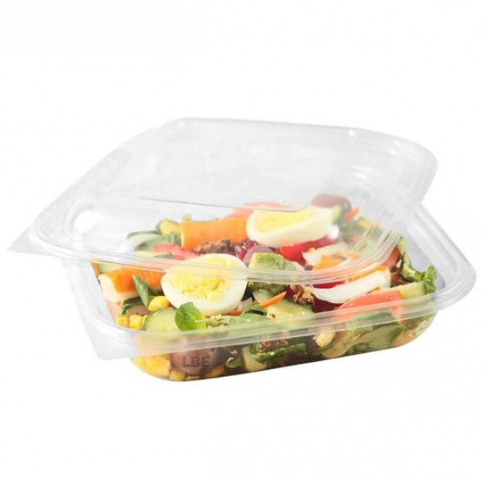Barquette salade plastique carrée transparente