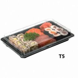miniature Barquette sushi rectangulaire plastique noire