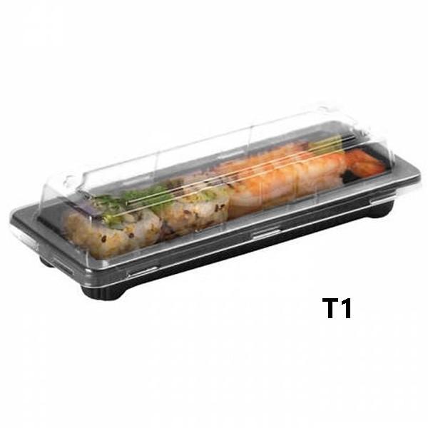 zoom Barquette sushi rectangulaire plastique noire